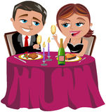 Happy Couple Having Romantic Dinner vector illustration