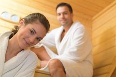 Free Happy Couple Having Steam Bath In Sauna Stock Photography - 99848772