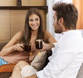 Happy couple having tea Stock Photography