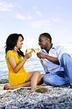 Happy couple having wine on beach Royalty Free Stock Images