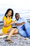 Happy couple having wine on beach Royalty Free Stock Image