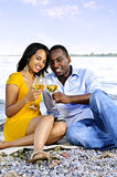 Happy couple having wine on beach. Young romantic couple celebrating with wine at the beach stock images