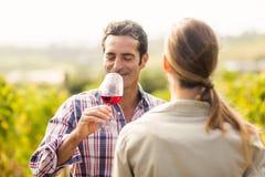 Happy couple having wine Royalty Free Stock Photos