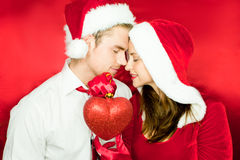 Happy couple with heart Royalty Free Stock Images