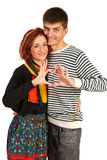 Happy couple with heart shape Royalty Free Stock Images