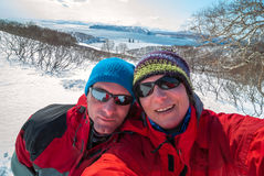 Happy couple of hikers taking selfie against the backdrop of Ava Stock Images