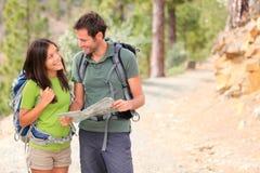 Happy couple hiking royalty free stock image
