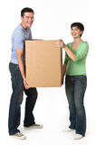 Happy Couple Holding Box Stock Image