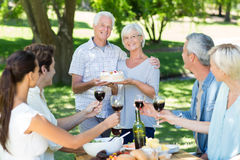 Happy couple holding cake at the park Royalty Free Stock Images
