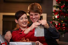 Happy couple holding christmas presents Stock Photography