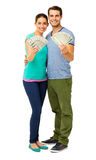 Happy Couple Holding Fanned Us Banknotes Stock Photography