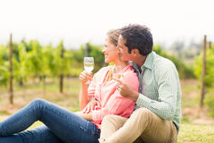 Happy couple holding glasses of wine and looking at nature. In vineyard Stock Photography