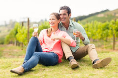 Happy couple holding glasses of wine and looking at nature. In vineyard Stock Images