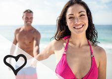 Happy couple holding hand at the beach Royalty Free Stock Photos