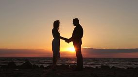 Happy couple holding hands on beach at sunset stock footage