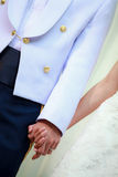 Happy couple holding hands. Conceptual image of bride and groom hands together Stock Images