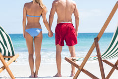 Happy couple holding hands and looking at the sea Stock Images