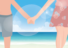 Happy couple holding hands on sea background. Vectoir Stock Photography