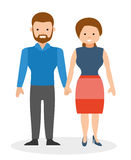 Happy couple holding hands and smiling. European cute family. Cartoon vector flat-style illustration Royalty Free Stock Images