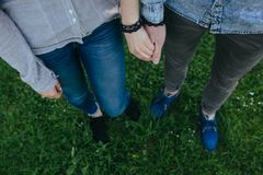 Happy couple holding hands Royalty Free Stock Images