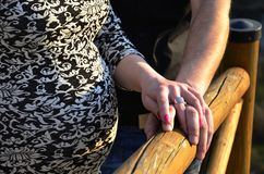 Happy couple holding hands. Happy young couple holding hands on wood railing Stock Photography