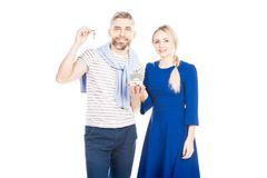Couple with keys from home stock photo