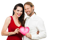 Happy couple holding love heart Stock Photo