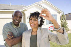 Happy Couple Holding New Home Key Royalty Free Stock Image
