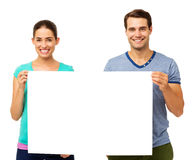 Happy Couple Holding Placard Royalty Free Stock Images