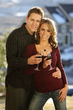 Happy Couple Holding a Wine Royalty Free Stock Photo