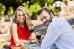 Happy couple holding wine glasses in the restaurant Royalty Free Stock Image