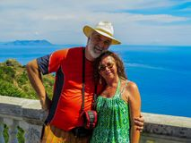 Happy couple in holiday. Mature happy couple in holiday by the sea Stock Images