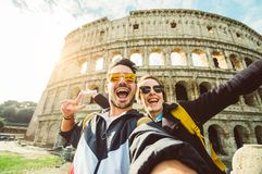 Happy couple at holiday in Rome royalty free stock photography