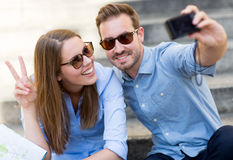 Happy couple on holidays Stock Images