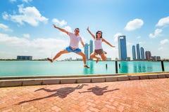 Happy couple on holidays in Abu Dhabi Royalty Free Stock Photos