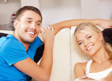 Happy couple at home Stock Photography