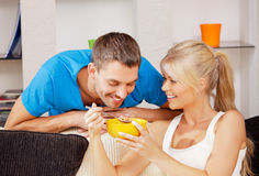 Happy couple at home. Bright picture of happy couple with muesli Royalty Free Stock Photos