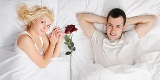 Happy couple at honeymoon Stock Image