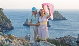 Happy couple at honeymoon in France Stock Photo