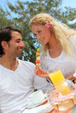 Happy couple in honeymoon vacation Royalty Free Stock Photo