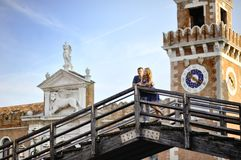 Happy couple in honeymoon in Venice, Italy Stock Images
