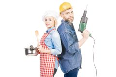 Happy Couple With Household Stuff royalty free stock images