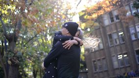 Happy couple hugging in the autumn stock video footage