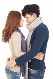 Happy couple hugging and looking Royalty Free Stock Photography