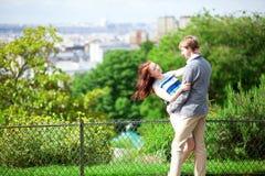 Happy couple is hugging on Montmartre Stock Photos