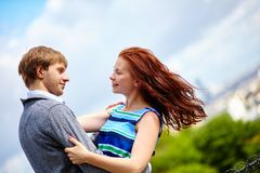 Happy couple is hugging on Montmartre Royalty Free Stock Image