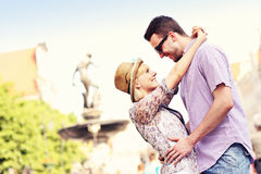 Happy couple hugging in the Old Town Royalty Free Stock Photo
