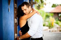 Happy couple hugging outdoors Royalty Free Stock Photo