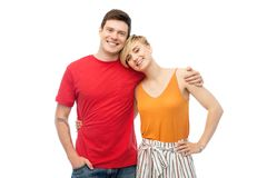 Happy couple hugging over white background royalty free stock image