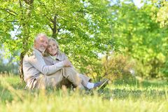 Happy couple hugging in spring park. Portrait of happy couple hugging in spring park royalty free stock image